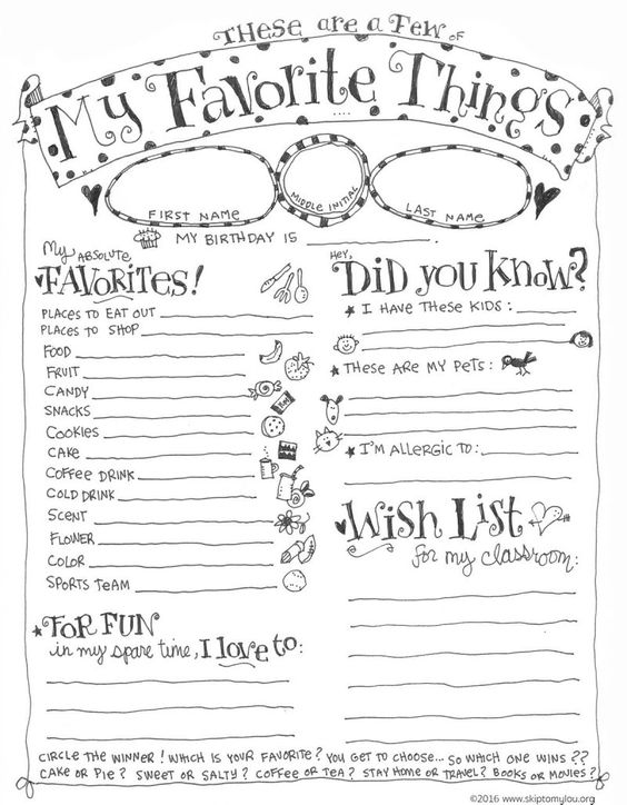 teacher favorite things questionnaire printable for back