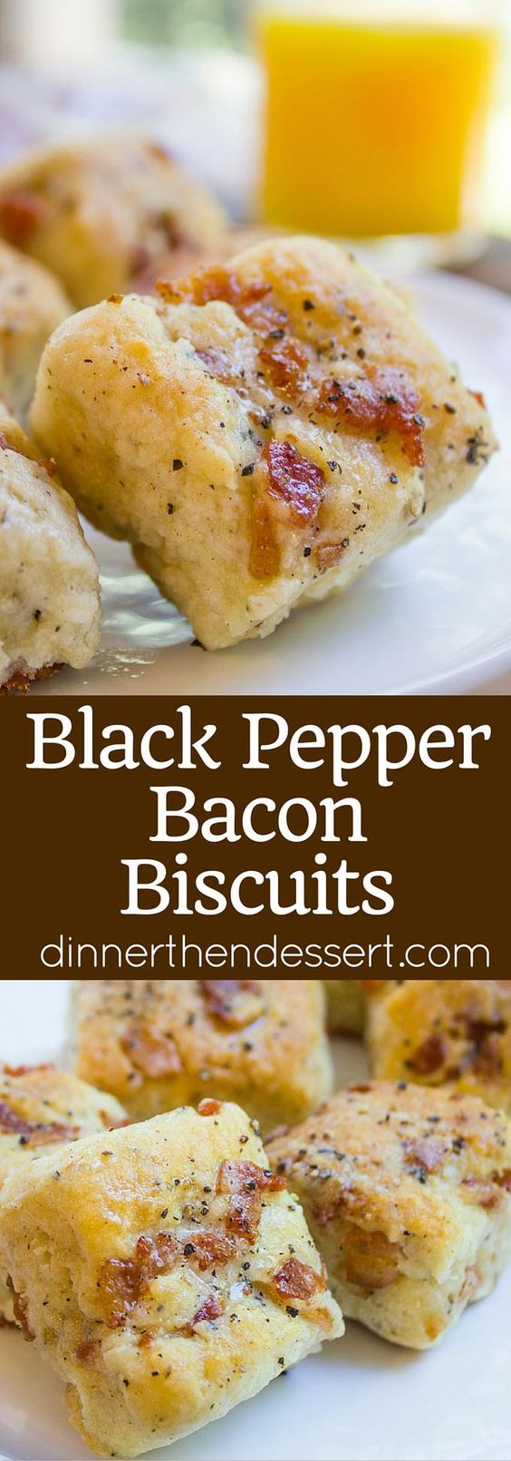"""Black Pepper Bacon Biscuits are peppery, full of delicious bacon, cream cheese and buttermilk, they are fluffy and flaky. The perfect biscuit for your weekend brunch!"" Recipe via Dinner then Dessert - The Best Homemade Biscuits Recipes - Quick, Easy and Delicious Bread Sides for Breakfast, Brunch, Lunch and Family Dinner!"