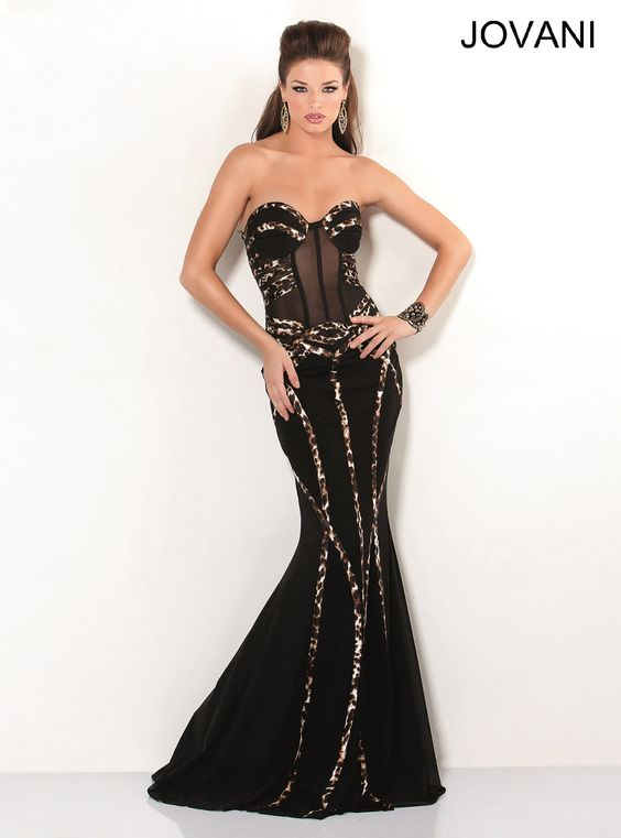 Black Mermaid Strapless Evening Gown with a Sheer Corset Bodice and Animal Print Trim  Prom