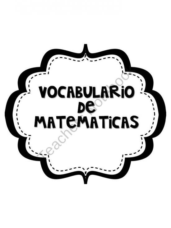 Math vocabulary, Vocabulary and Spanish on Pinterest