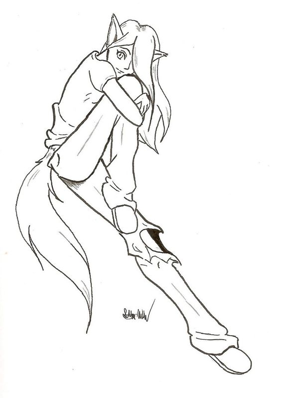 Wolf Tail Drawing Sketch Coloring Page