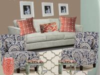 Navy Blue and teal coral living room