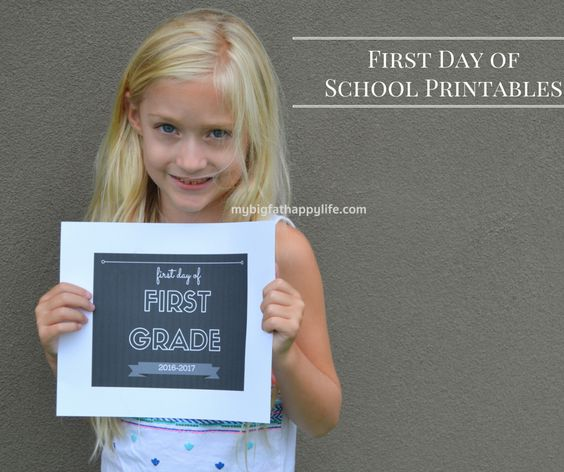 First Day of School Printables 2016 - My Big Fat Happy Life: