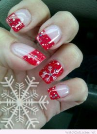 Winter christmas, Christmas nails and Red and white on ...