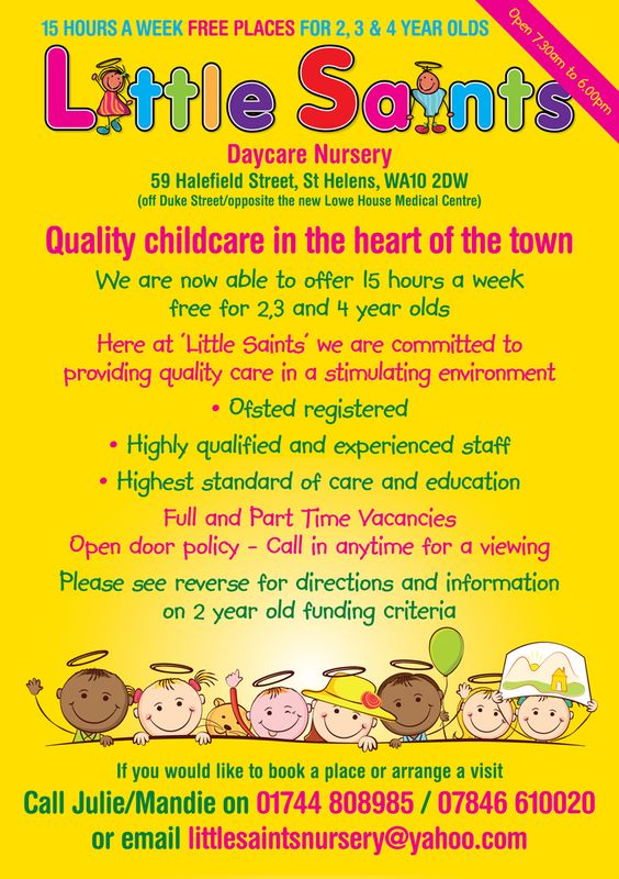 Childcare Leaflet Design For Little Saints Daycare Nursery