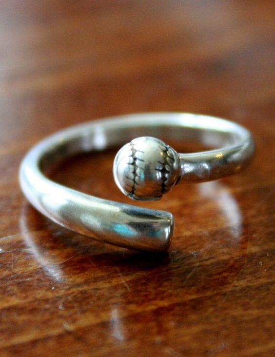 Baseball Ring Softball Ring Sterling Silver Player Gift