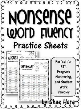 Nonsense Word Fluency Practice Work Sample {RTI Progress