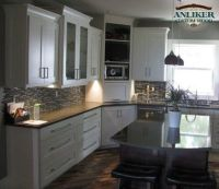 Kitchen cabinets with corner appliance garage and ...