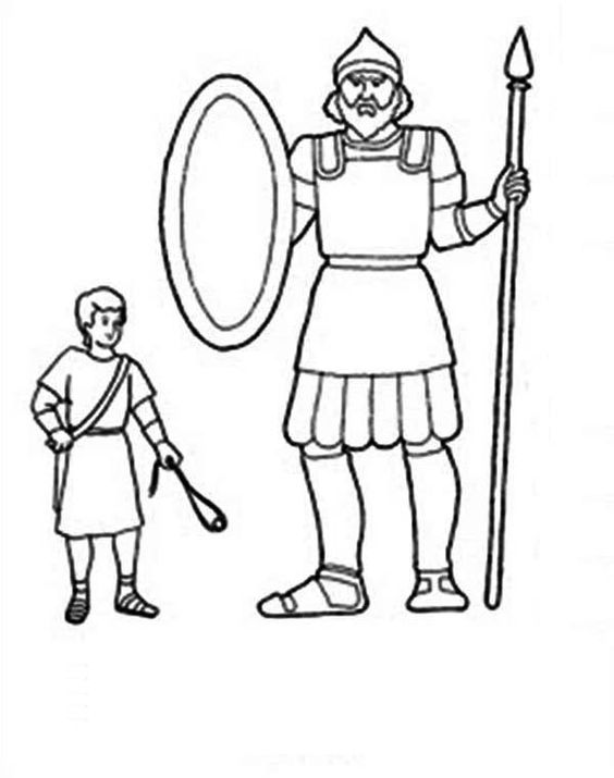 David and goliath, Coloring pages and Coloring sheets on