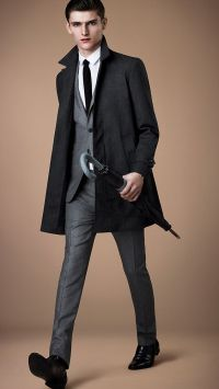 Burberry London, Grey suit with slim black tie and black ...