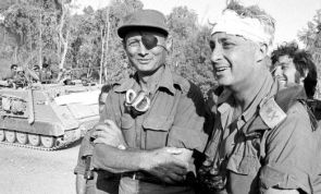 """Gen. Moshe Dayan (eye patch) and Gen. Ariel """"Arik"""" Sharon during the 6-Day War in 1967. Dayan, a legendary figure in Israel, went on to become defense and foreign minister. Sharon became the 11th PM of Israel. A highly controversial figure he has been in persistent vegetative state after suffering a stroke in January 2006.:"""