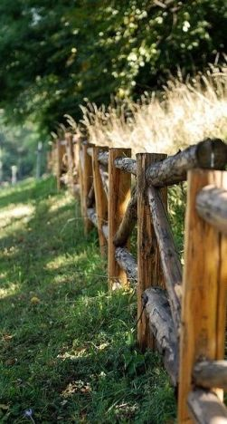 Love this. . . rustic log fence: