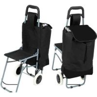 Maxam Trolley Shopping Bag with Folding Chair   Metals ...