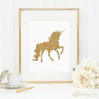 Unicorn print, printable wall art decor, gold glitter