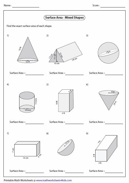 Www Mathworksheets4kids Com Surface Area Of Rectangular