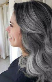 grey granny balayage hair