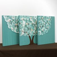 Teal Wall Art Decor - Tree Acrylic Painting on Triptych ...