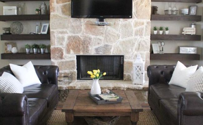 Diy Floating Shelves For My Living Room Fireplaces