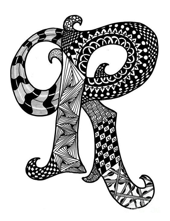 Zentangle Letter R Monogram Drawing Zentangle Alpha