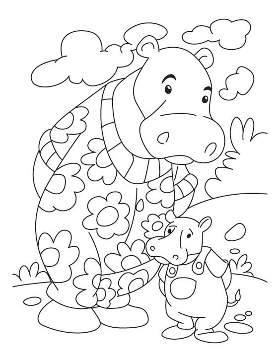 The pictures given in the Hippo Coloring Book is sure to