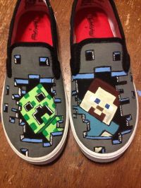 Handpainted Minecraft inspired shoes. by MCCrochetDesigns