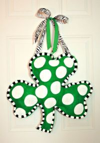 Hand Painted St. Patrick's Day Burlap Shamrock Door Hanger ...