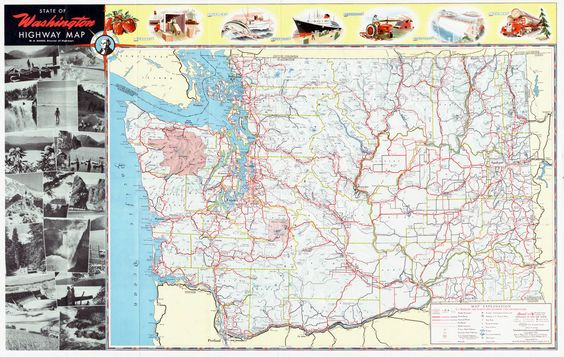 Washington State Highway Map 1950 Beautiful Maps from