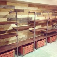 Pallet wall storage unit | Industrial Pipe Shelves ...