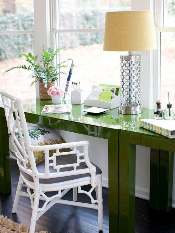 green desk: