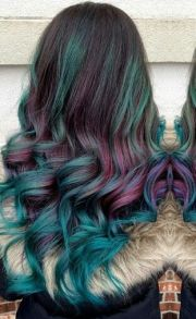 two tones dyed hair and teal