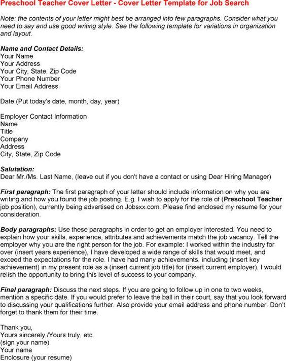 Preschool Teacher Cover Letter  httpwwwresumecareerinfopreschoolteachercoverletter6