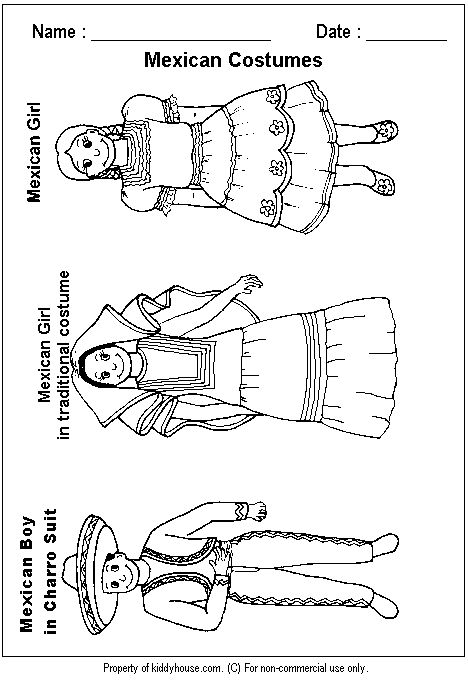 Mexican clothing, Costumes and Coloring pages on Pinterest