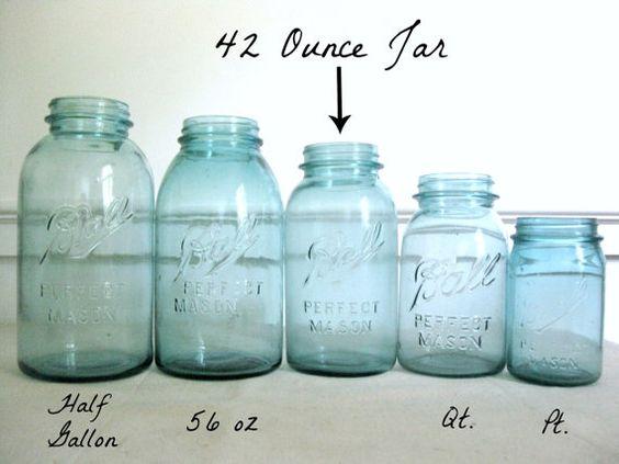Blue Mason Jar, Ball Perfect Mason Canning Jar, Rare 56 oz
