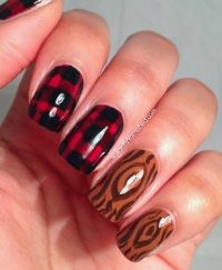 Flannel and Wood Lumberjack Nail Art | Nail art, Flannels ...