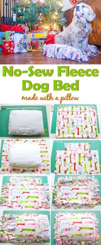 No-Sew Fleece Dog Bed Tutorial Make with A Pillow