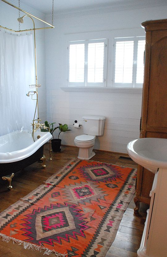 kilim rug black clawfoot tub large bathroom   home   Pinterest  Clawfoot tubs Tribal rug
