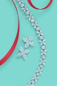 Tiffany Victoria designs, from left: earrings in platinum ...