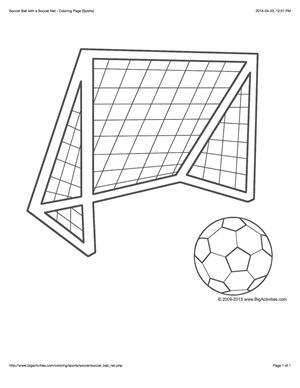 Sports coloring page with a picture of a soccer ball and