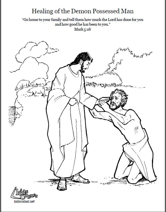 Jesus Heals Demon Possessed Man Coloring Pages Sketch