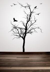 Winter Tree, Tree Wall Decal, Bird, Flock of Birds ...