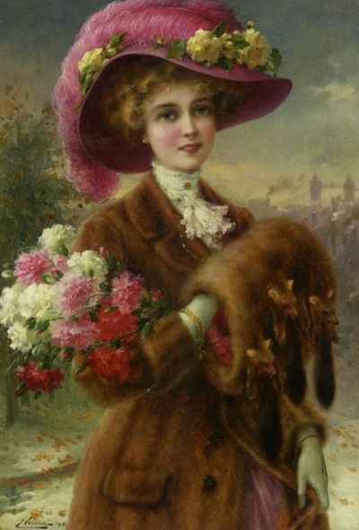 "Victorian maiden in fur coat...muff...roses....hat...the-garden-of-delights:    ""Winter Beauty"" by Emile Vernon (1910).:"