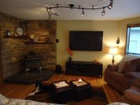 Family Room...love the wood stove in the corner | Cutie ...