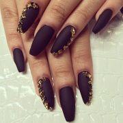 matte black and gold nails nail
