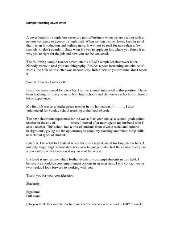 Cover Letter Example Cover Letter Sample Kindergarten TeacherSimple Cover Letter Application