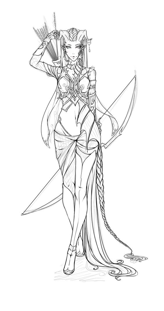 Amara Lines by Takumy tiefling elf ranger archer leather