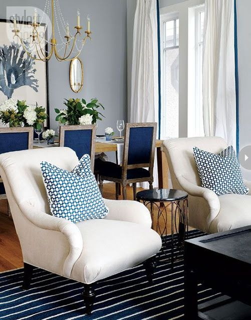 South Shore Decorating Blog.  Different patterns in blue makes this room a candy for the eye.: