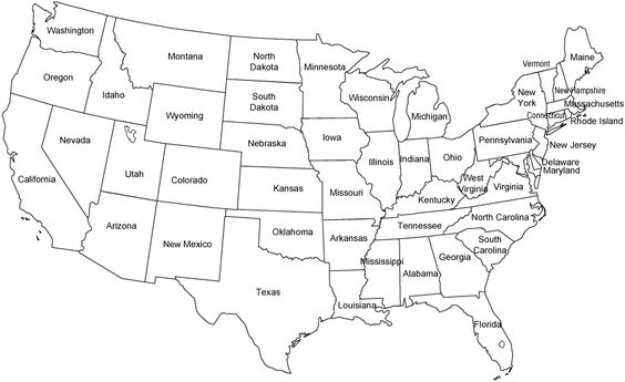 black and white outline map of contiguous united states