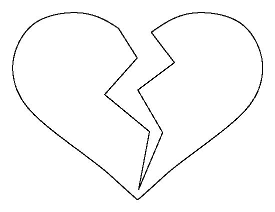 Broken Heart pattern. Use the printable outline for crafts