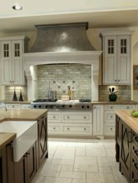 Two colored cabinets and travertine flooring. | Home Decor ...