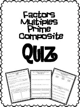 *FREE* Factors Multiples Prime and Composite Number QUIZ
